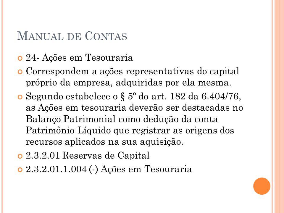 M ANUAL DE C ONTAS 24- Ações em Tesouraria Correspondem a ações representativas do capital próprio da empresa, adquiridas por ela mesma. Segundo estab