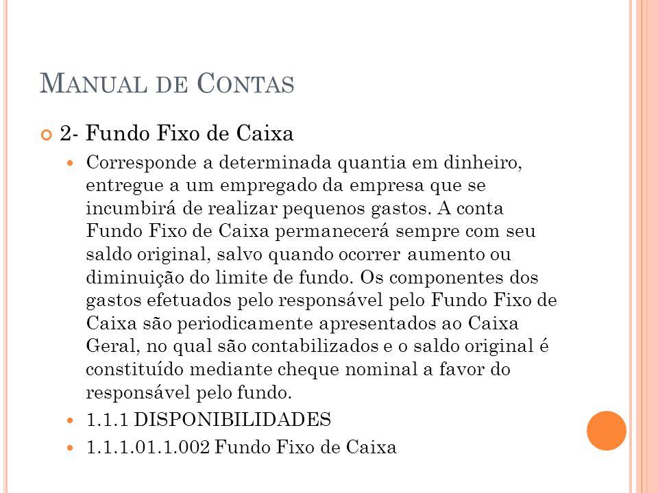 M ANUAL DE C ONTAS 2- Fundo Fixo de Caixa Corresponde a determinada quantia em dinheiro, entregue a um empregado da empresa que se incumbirá de realiz