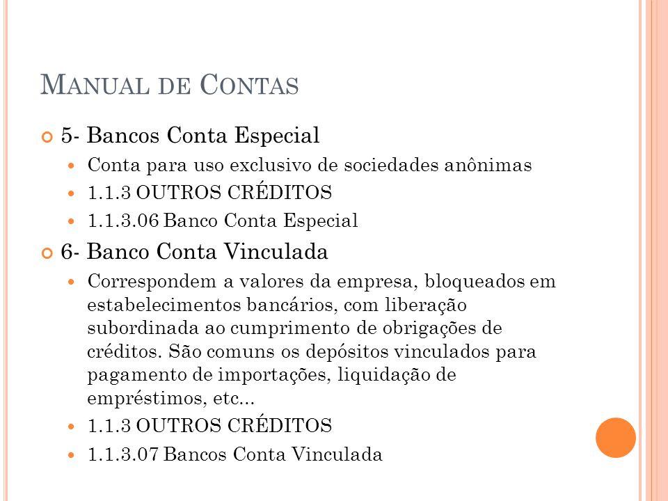 M ANUAL DE C ONTAS 5- Bancos Conta Especial Conta para uso exclusivo de sociedades anônimas 1.1.3 OUTROS CRÉDITOS 1.1.3.06 Banco Conta Especial 6- Ban