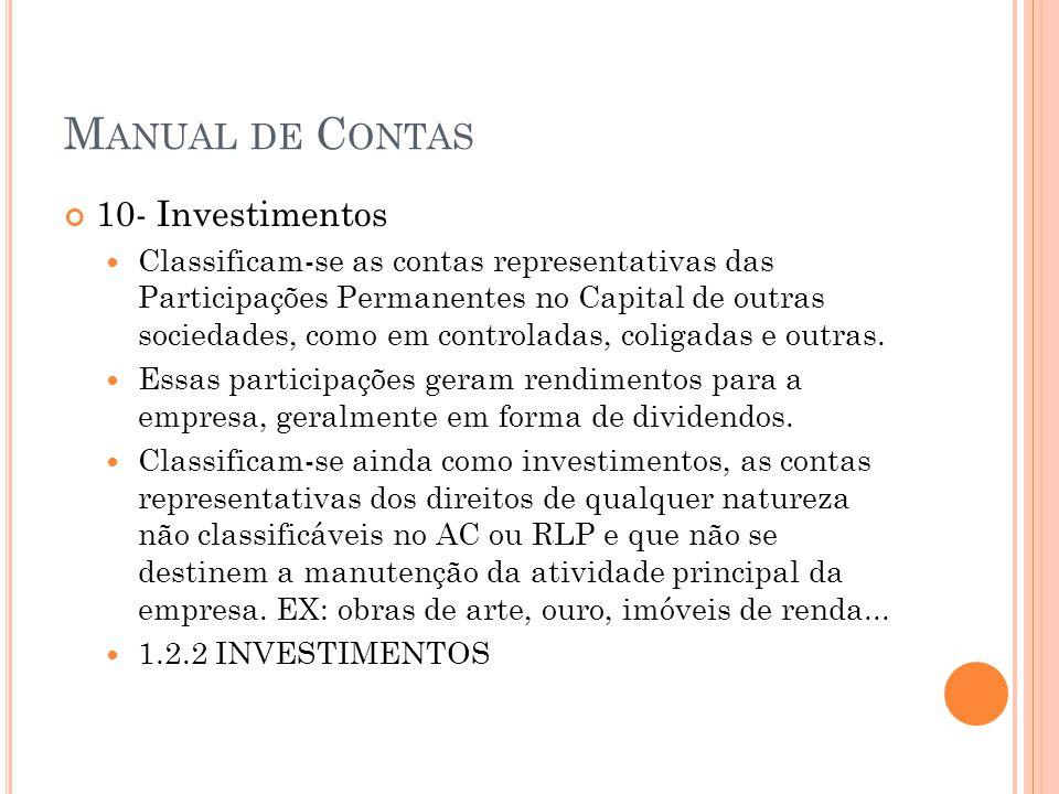 M ANUAL DE C ONTAS 10- Investimentos Classificam-se as contas representativas das Participações Permanentes no Capital de outras sociedades, como em controladas, coligadas e outras.