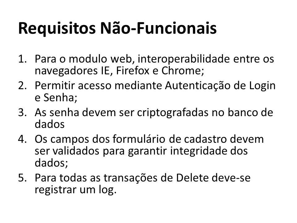 Requisitos Não-Funcionais 1.Para o modulo web, interoperabilidade entre os navegadores IE, Firefox e Chrome; 2.Permitir acesso mediante Autenticação de Login e Senha; 3.As senha devem ser criptografadas no banco de dados 4.Os campos dos formulário de cadastro devem ser validados para garantir integridade dos dados; 5.Para todas as transações de Delete deve-se registrar um log.