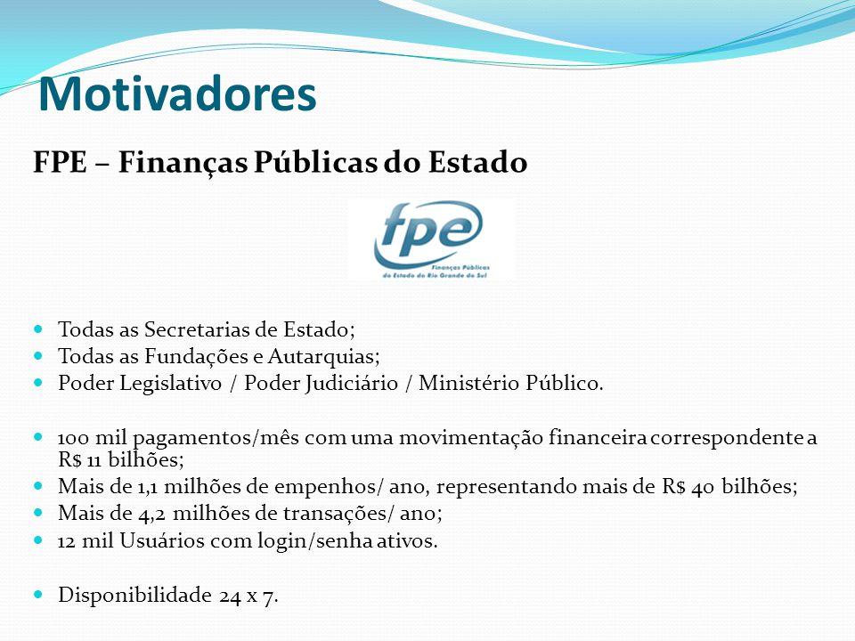 Motivadores FPE – Finanças Públicas do Estado Todas as Secretarias de Estado; Todas as Fundações e Autarquias; Poder Legislativo / Poder Judiciário /