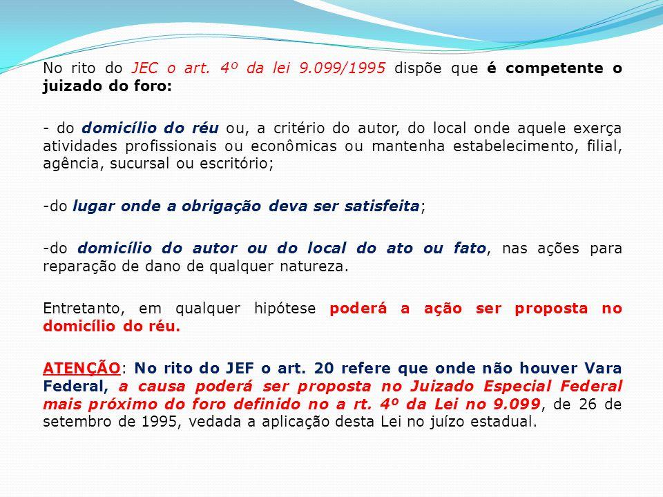 No rito do JEC o art. 4º da lei 9.099/1995 dispõe que é competente o juizado do foro: - do domicílio do réu ou, a critério do autor, do local onde aqu
