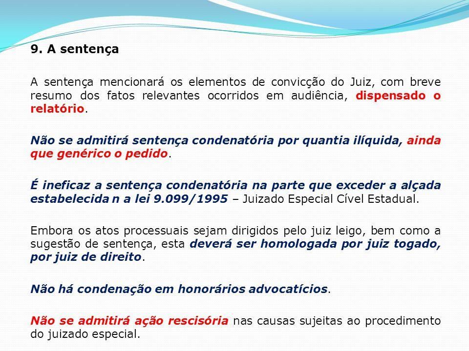 9. A sentença A sentença mencionará os elementos de convicção do Juiz, com breve resumo dos fatos relevantes ocorridos em audiência, dispensado o rela