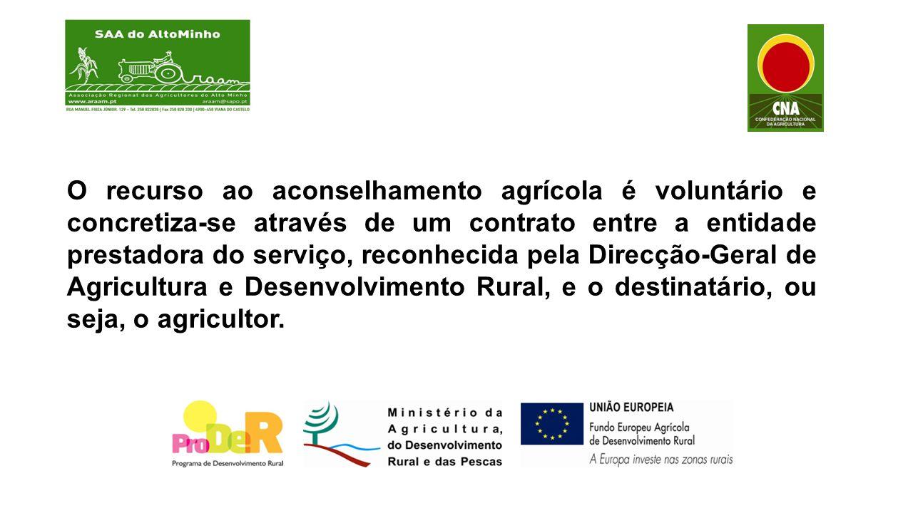 O recurso ao aconselhamento agrícola é voluntário e concretiza-se através de um contrato entre a entidade prestadora do serviço, reconhecida pela Direcção-Geral de Agricultura e Desenvolvimento Rural, e o destinatário, ou seja, o agricultor.