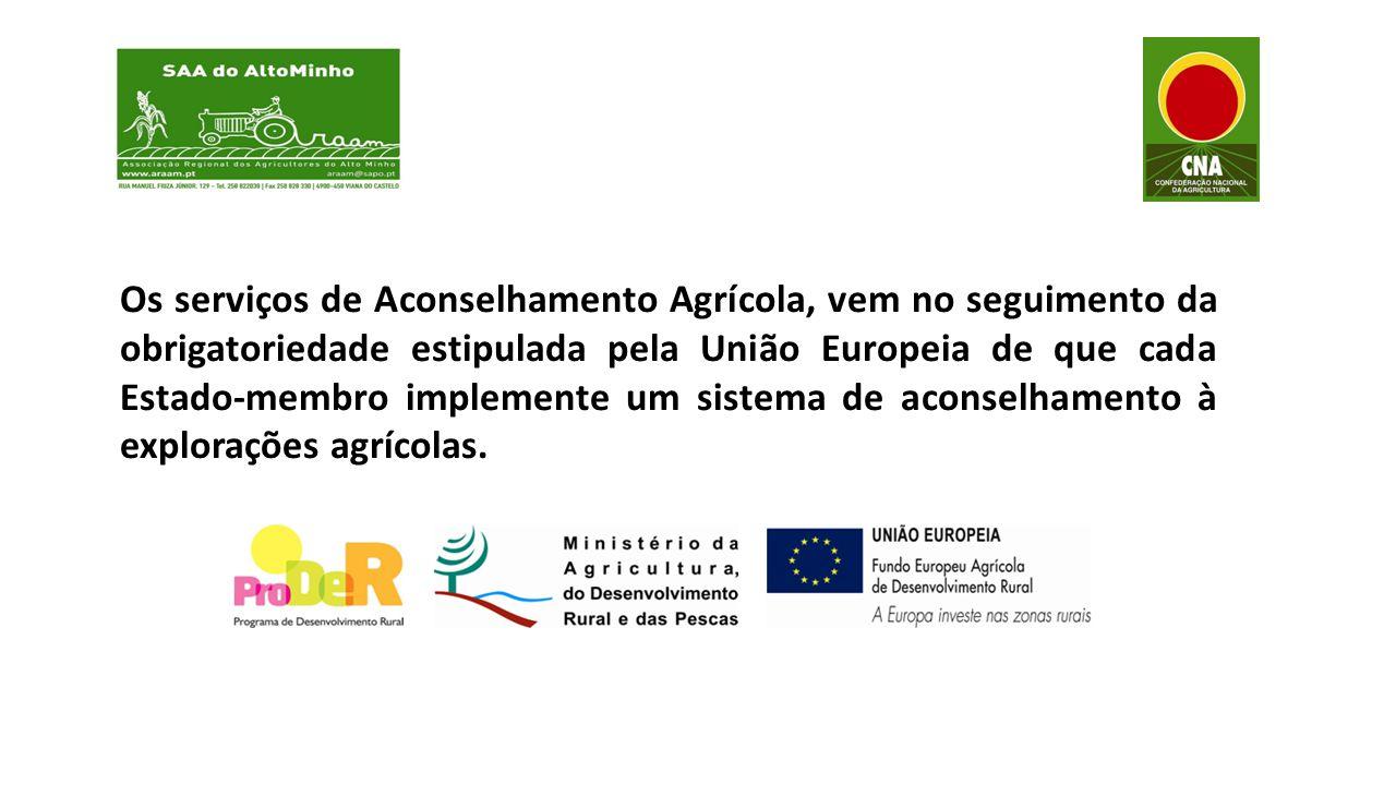 Os serviços de Aconselhamento Agrícola, vem no seguimento da obrigatoriedade estipulada pela União Europeia de que cada Estado-membro implemente um sistema de aconselhamento à explorações agrícolas.