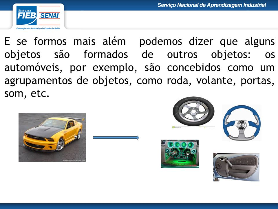 E se formos mais além podemos dizer que alguns objetos são formados de outros objetos: os automóveis, por exemplo, são concebidos como um agrupamentos de objetos, como roda, volante, portas, som, etc.