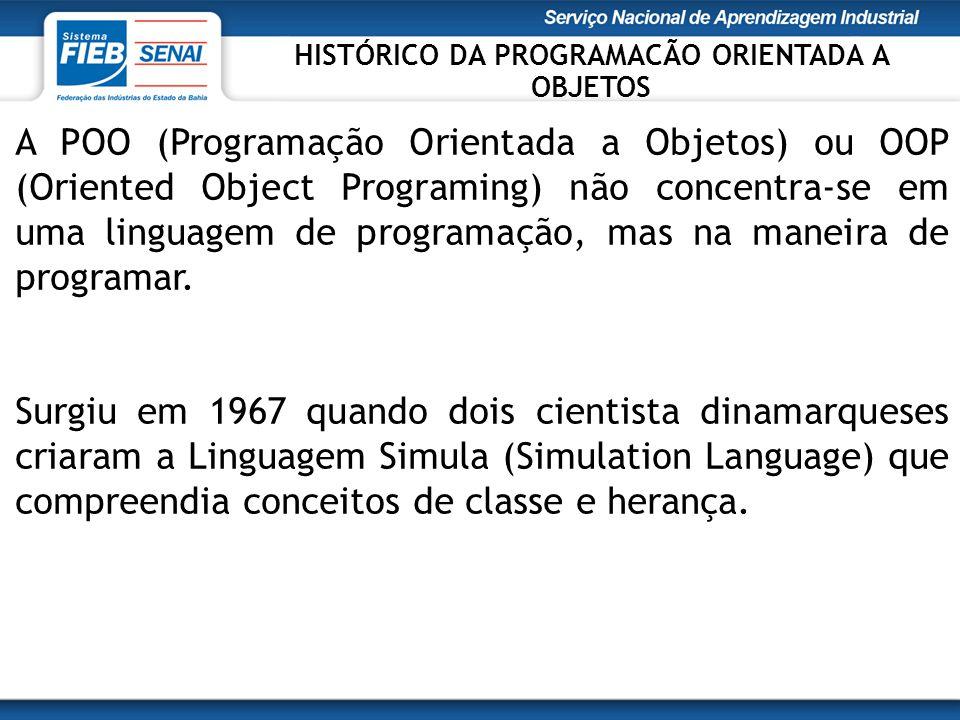 A POO (Programação Orientada a Objetos) ou OOP (Oriented Object Programing) não concentra-se em uma linguagem de programação, mas na maneira de progra