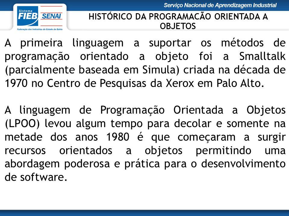 A primeira linguagem a suportar os métodos de programação orientado a objeto foi a Smalltalk (parcialmente baseada em Simula) criada na década de 1970