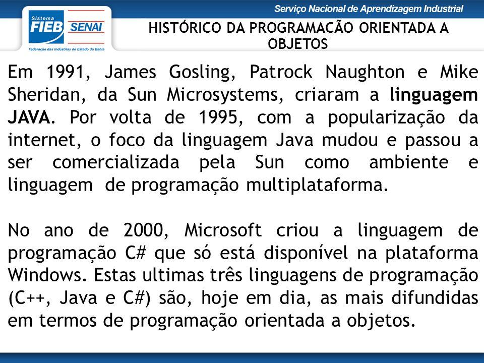 Em 1991, James Gosling, Patrock Naughton e Mike Sheridan, da Sun Microsystems, criaram a linguagem JAVA.