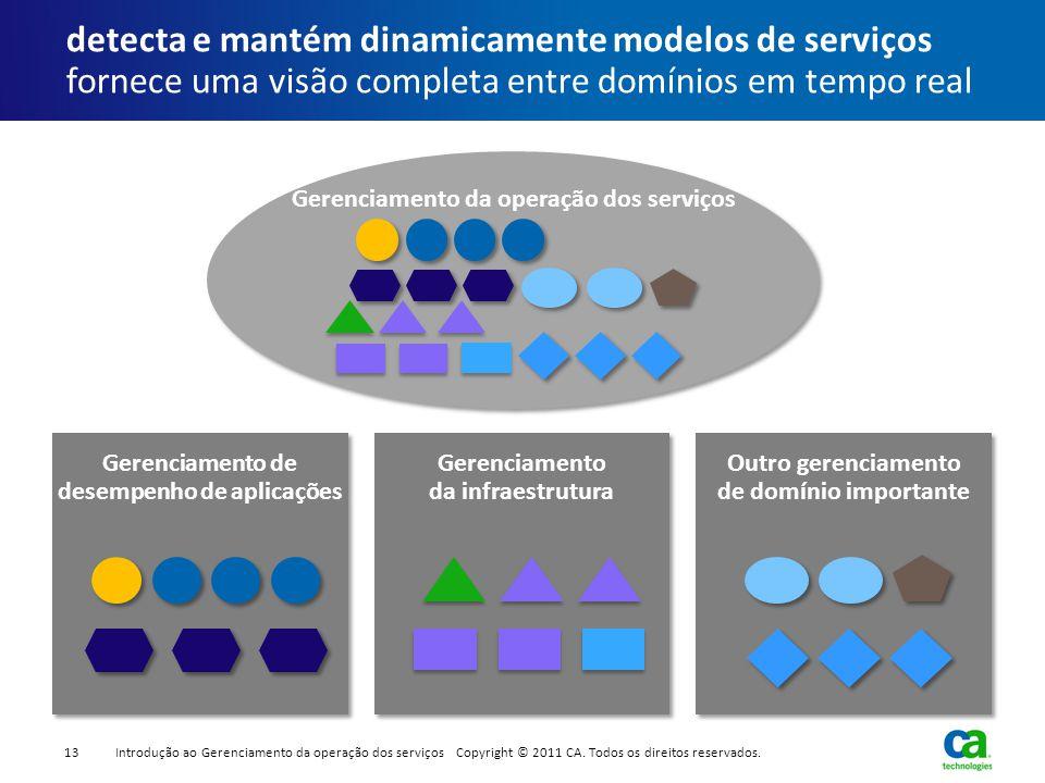 detecta e mantém dinamicamente modelos de serviços fornece uma visão completa entre domínios em tempo real Gerenciamento da infraestrutura Gerenciamen