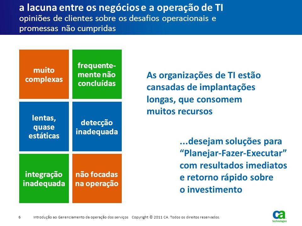 a lacuna entre os negócios e a operação de TI opiniões de clientes sobre os desafios operacionais e promessas não cumpridas As organizações de TI estã