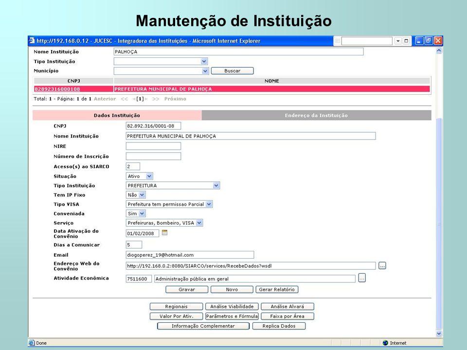 Manutenção de Instituição