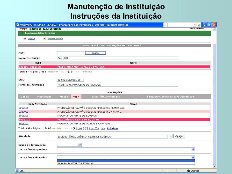Manutenção de Instituição Instruções da Instituição