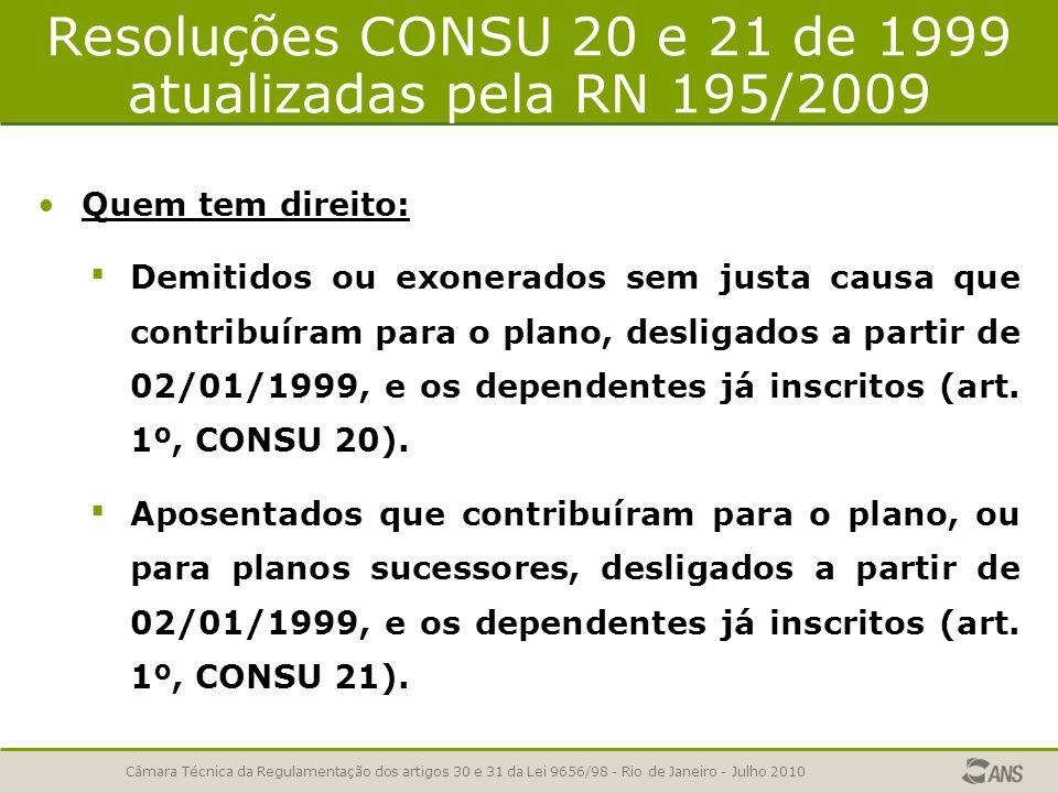 Resoluções CONSU 20 e 21 de 1999 atualizadas pela RN 195/2009 Quem tem direito: Demitidos ou exonerados sem justa causa que contribuíram para o plano