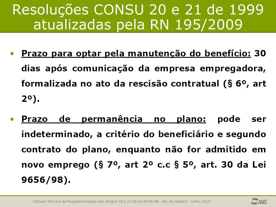 Resoluções CONSU 20 e 21 de 1999 atualizadas pela RN 195/2009 Prazo para optar pela manutenção do benefício: 30 dias após comunicação da empresa empre