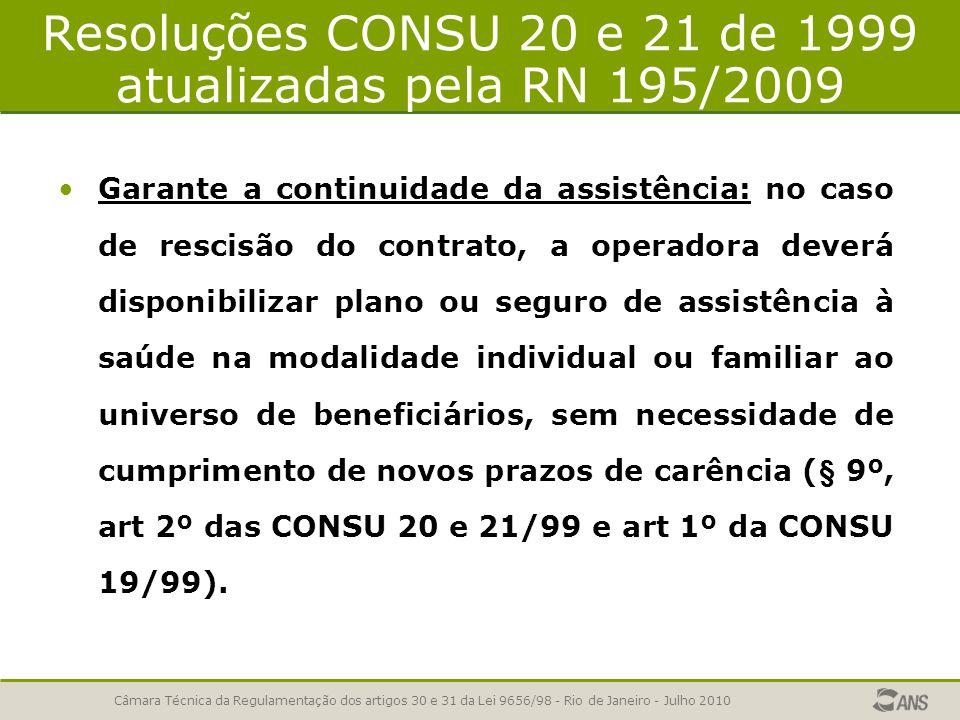 Resoluções CONSU 20 e 21 de 1999 atualizadas pela RN 195/2009 Garante a continuidade da assistência: no caso de rescisão do contrato, a operadora deve