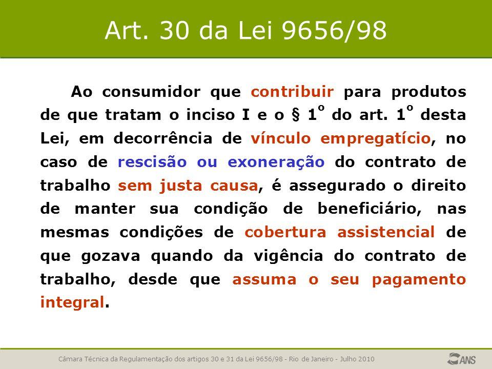 Art. 30 da Lei 9656/98 Ao consumidor que contribuir para produtos de que tratam o inciso I e o § 1 o do art. 1 o desta Lei, em decorrência de vínculo
