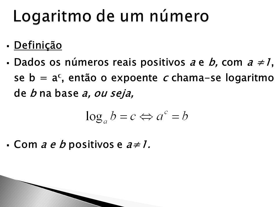  Definição  Dados os números reais positivos a e b, com a ≠1, se b = a c, então o expoente c chama-se logaritmo de b na base a, ou seja,  Com a e b