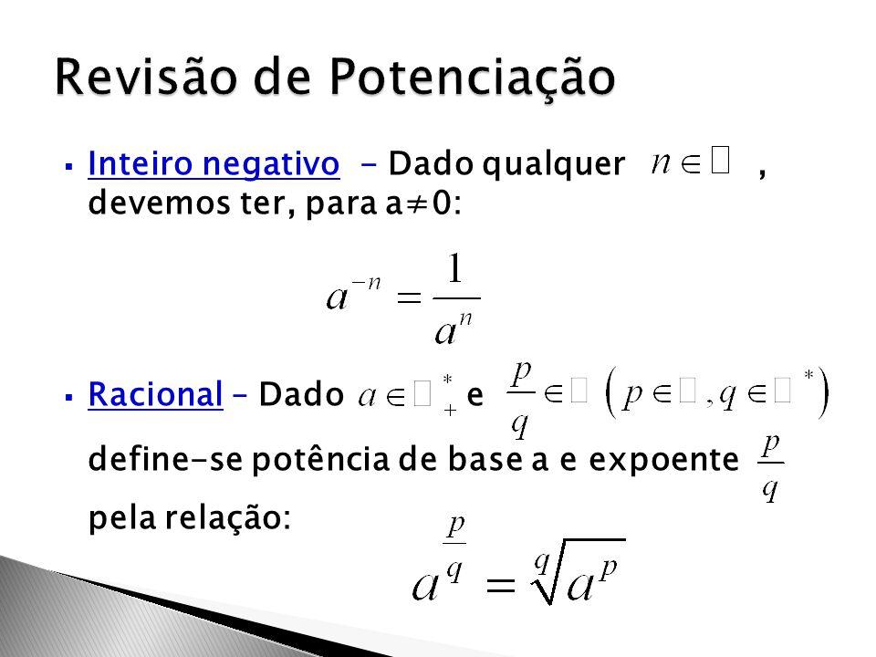  Inteiro negativo - Dado qualquer, devemos ter, para a≠0:  Racional – Dado e define-se potência de base a e expoente pela relação: