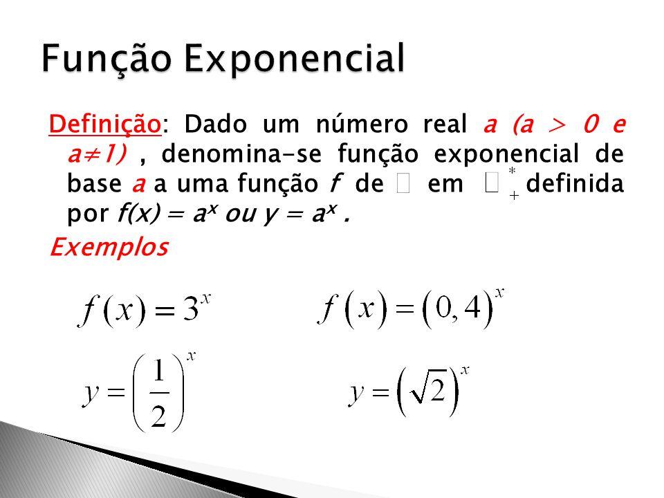 Definição: Dado um número real a (a > 0 e a≠1), denomina-se função exponencial de base a a uma função f de em definida por f(x) = a x ou y = a x. Exem