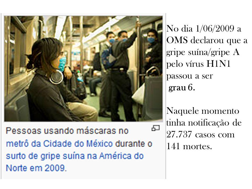 No dia 1/06/2009 a OMS declarou que a gripe suína/gripe A pelo vírus H1N1 passou a ser grau 6.