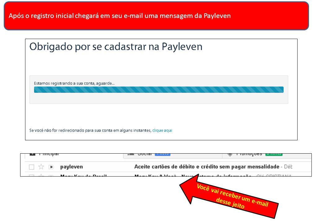 Após o registro inicial chegará em seu e-mail uma mensagem da Payleven Você vai receber um e-mail desse jeito