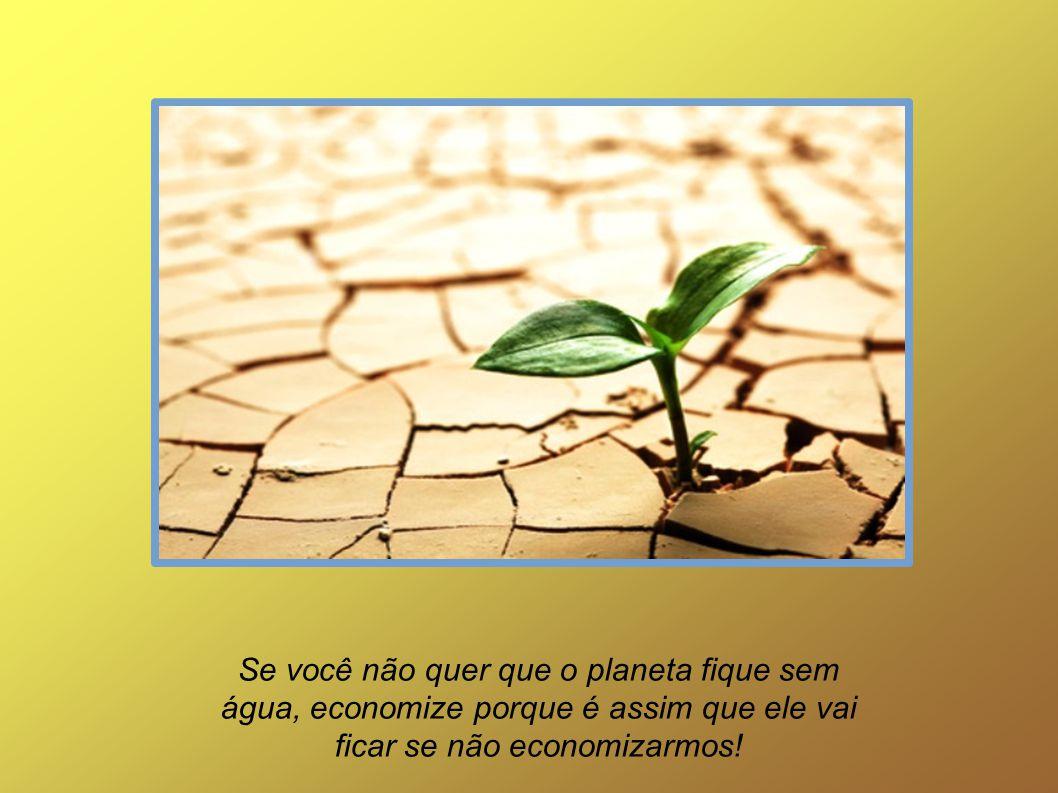 Se você não quer que o planeta fique sem água, economize porque é assim que ele vai ficar se não economizarmos!