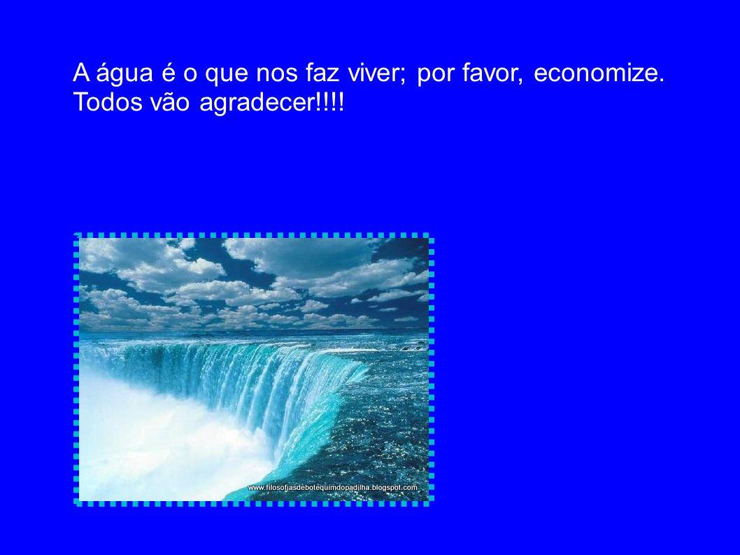 A água é o que nos faz viver; por favor, economize. Todos vão agradecer!!!!