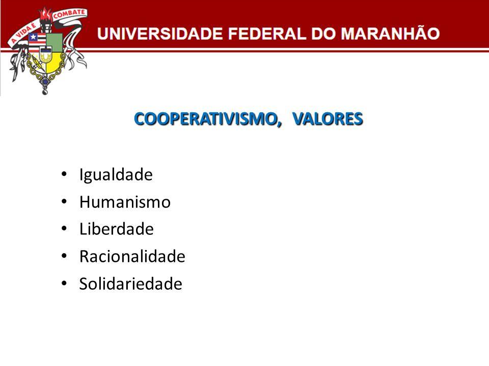 COOPERATIVISMO, VALORES COOPERATIVISMO, VALORES Igualdade Humanismo Liberdade Racionalidade Solidariedade