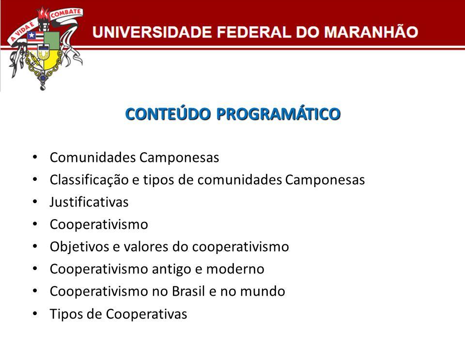 CONTEÚDO PROGRAMÁTICO Comunidades Camponesas Classificação e tipos de comunidades Camponesas Justificativas Cooperativismo Objetivos e valores do coop