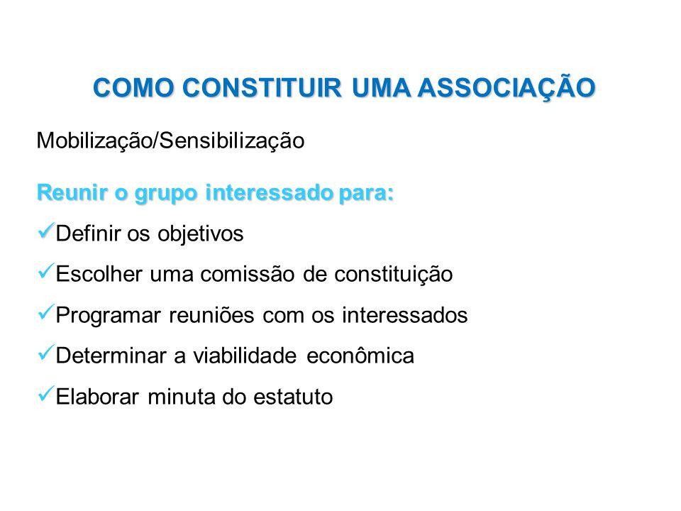 Mobilização/Sensibilização Reunir o grupo interessado para: Definir os objetivos Escolher uma comissão de constituição Programar reuniões com os inter