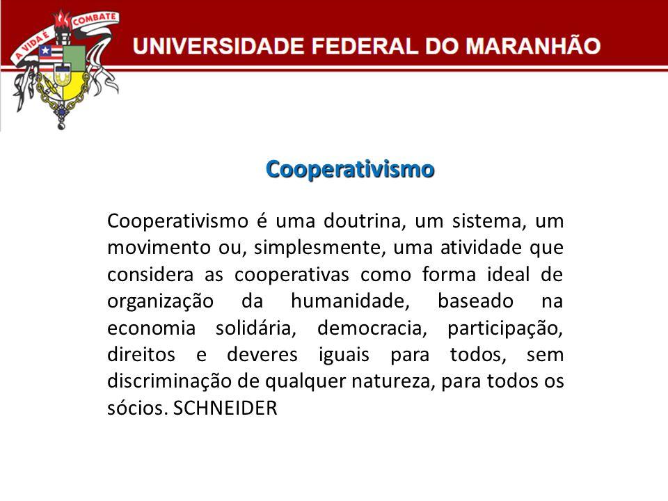 Cooperativismo é uma doutrina, um sistema, um movimento ou, simplesmente, uma atividade que considera as cooperativas como forma ideal de organização