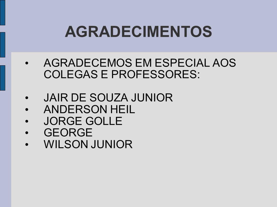 AGRADECIMENTOS AGRADECEMOS EM ESPECIAL AOS COLEGAS E PROFESSORES: JAIR DE SOUZA JUNIOR ANDERSON HEIL JORGE GOLLE GEORGE WILSON JUNIOR