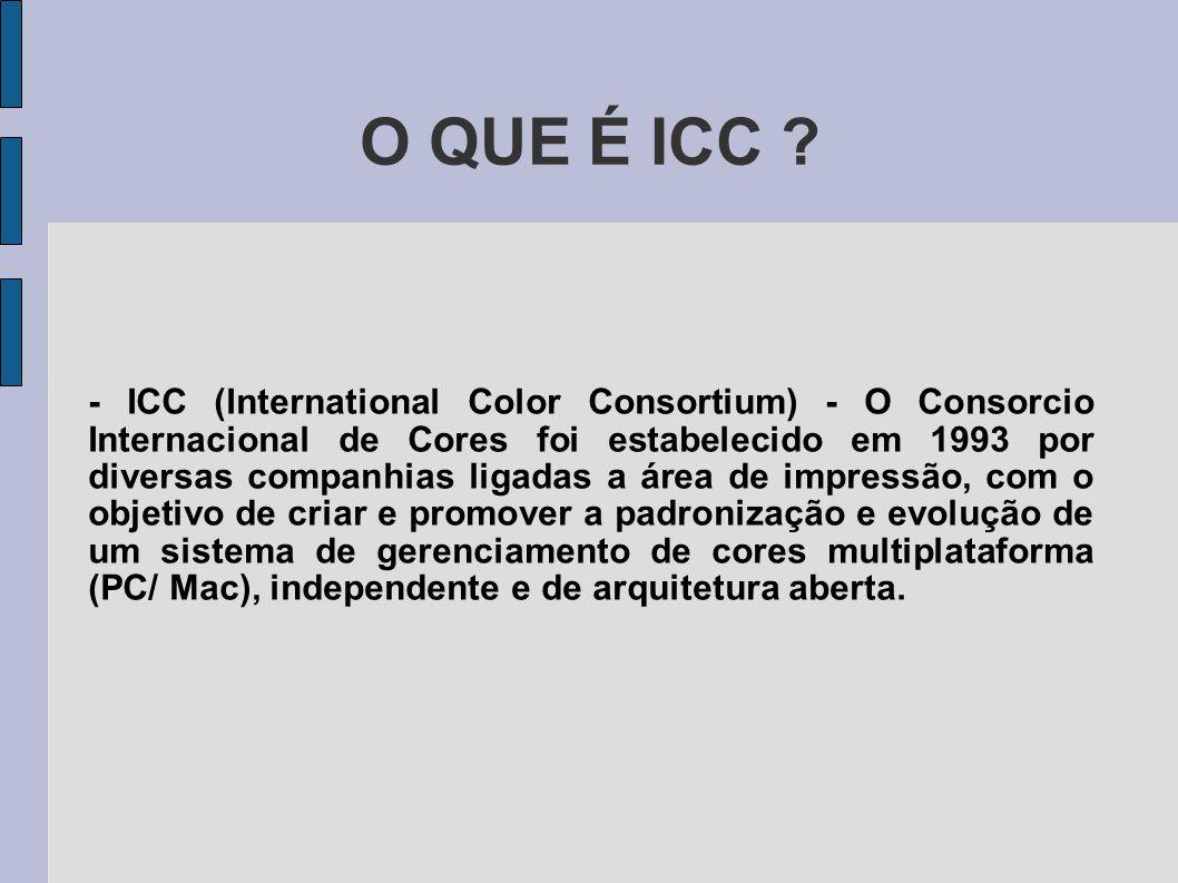 O QUE É ICC ? - ICC (International Color Consortium) - O Consorcio Internacional de Cores foi estabelecido em 1993 por diversas companhias ligadas a á