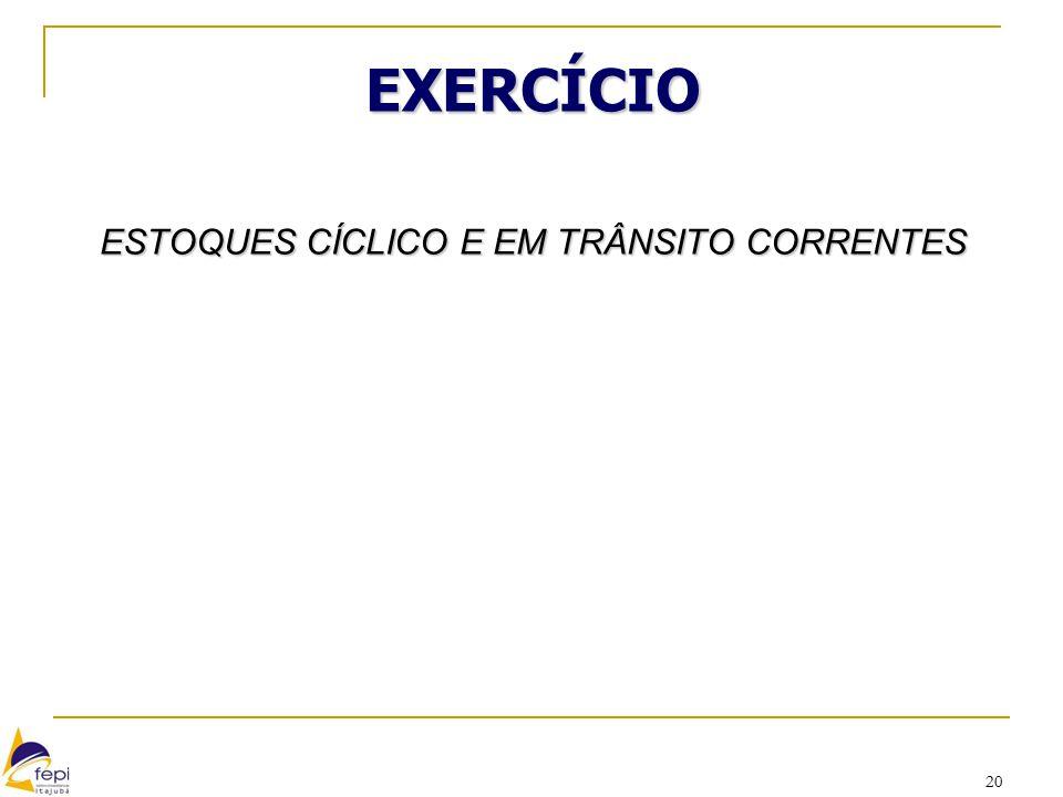 20 EXERCÍCIO ESTOQUES CÍCLICO E EM TRÂNSITO CORRENTES CÍCLICO Ec = Q/2 Ec = 280/2 Ec = 140 furadeiras EM TRÂNSITO Et = dL Et = 70 furadeiras x 3 seman
