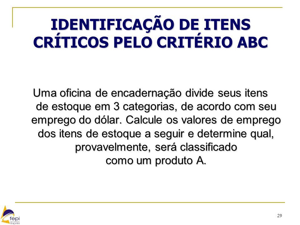29 IDENTIFICAÇÃO DE ITENS CRÍTICOS PELO CRITÉRIO ABC Uma oficina de encadernação divide seus itens de estoque em 3 categorias, de acordo com seu empre