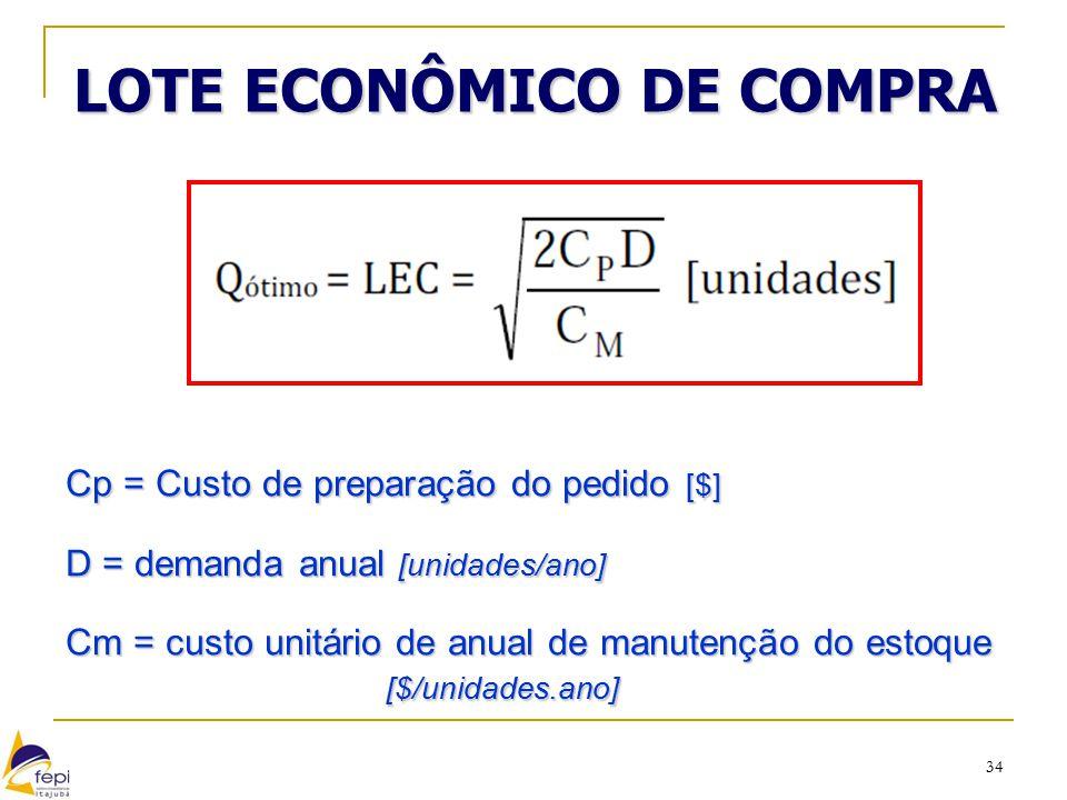 34 LOTE ECONÔMICO DE COMPRA Cp = Custo de preparação do pedido [$] D = demanda anual [unidades/ano] Cm = custo unitário de anual de manutenção do esto