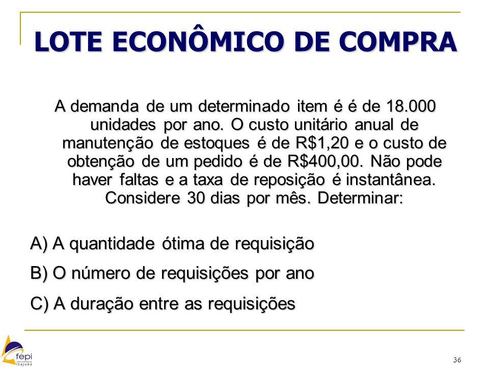 36 LOTE ECONÔMICO DE COMPRA A demanda de um determinado item é é de 18.000 unidades por ano. O custo unitário anual de manutenção de estoques é de R$1