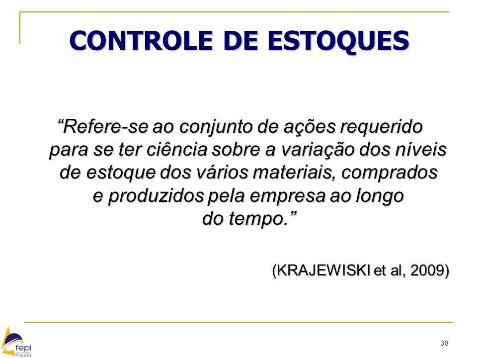 """38 CONTROLE DE ESTOQUES """"Refere-se ao conjunto de ações requerido para se ter ciência sobre a variação dos níveis de estoque dos vários materiais, com"""