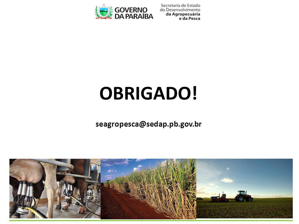 OBRIGADO! seagropesca@sedap.pb.gov.br