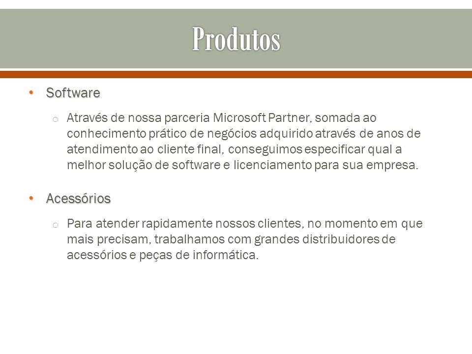 Software Software o Através de nossa parceria Microsoft Partner, somada ao conhecimento prático de negócios adquirido através de anos de atendimento ao cliente final, conseguimos especificar qual a melhor solução de software e licenciamento para sua empresa.