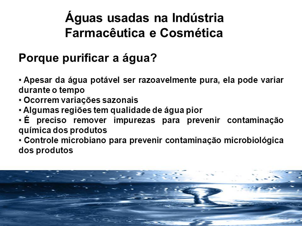 Regulamentos Farmacopéia Americana - USP 29 Farmacopéia Européia Farmacopéia Japonesa Farmacopéia Brasileira RDC 67 de 2007 RDC 17 de 2010 Água para fins farmacêuticos