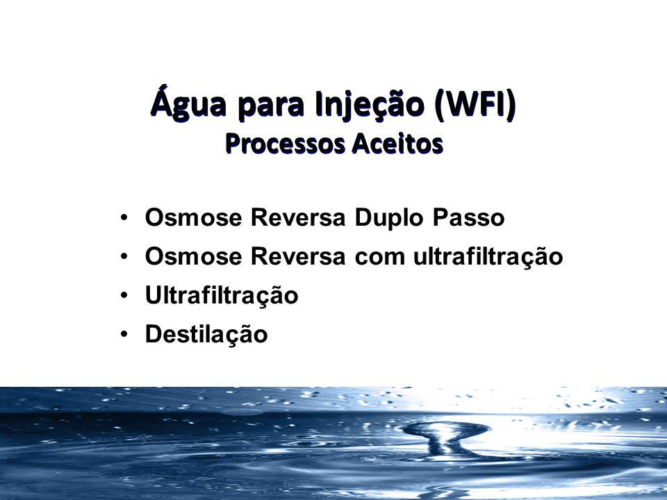 34 Água para Injeção (WFI) Processos Aceitos Osmose Reversa Duplo Passo Osmose Reversa com ultrafiltração Ultrafiltração Destilação