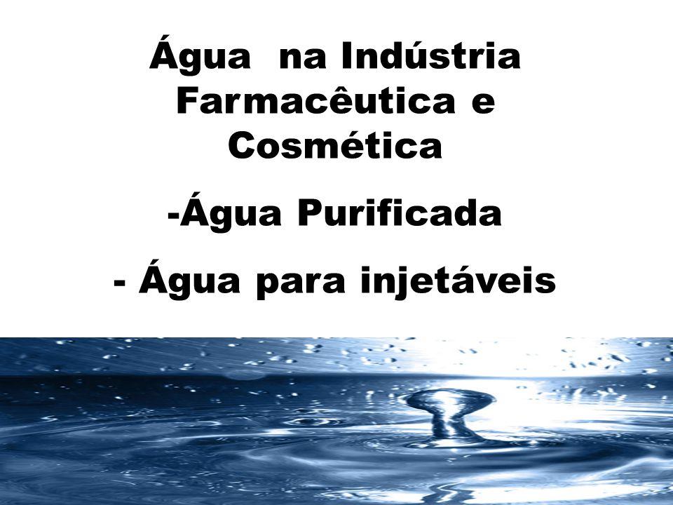 Conceitos - Base para projeto de Purificação de Água para uso em Farmácia Impurezas principais Dissolvidas (cátions e ânions) Não dissolvidas Gases Contaminantes microbiológicos