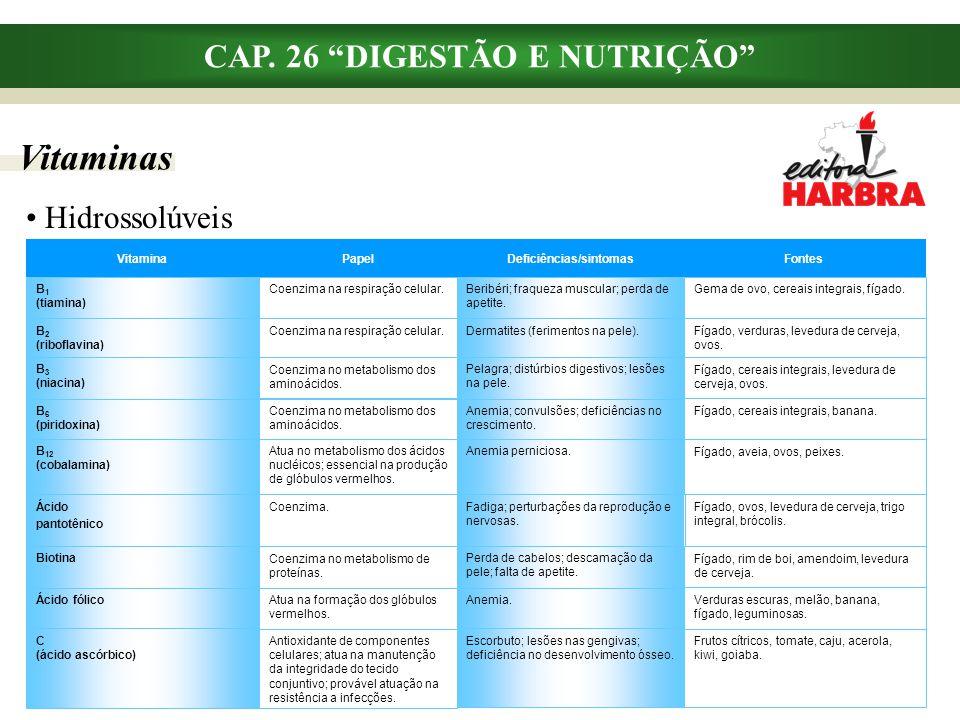 """Vitaminas CAP. 26 """"DIGESTÃO E NUTRIÇÃO"""" Hidrossolúveis Anemia; convulsões; deficiências no crescimento. Coenzima no metabolismo dos aminoácidos. B 6 ("""
