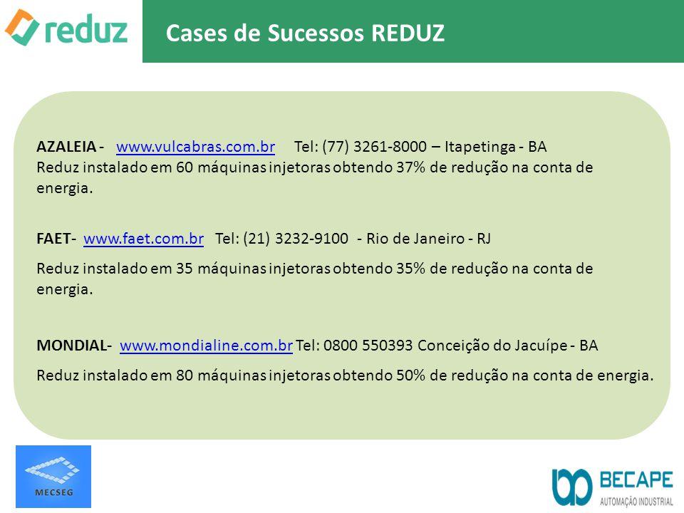 AZALEIA - www.vulcabras.com.br Tel: (77) 3261-8000 – Itapetinga - BAwww.vulcabras.com.br Reduz instalado em 60 máquinas injetoras obtendo 37% de reduç