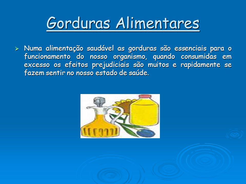 Gorduras Alimentares NNNNuma alimentação saudável as gorduras são essenciais para o funcionamento do nosso organismo, quando consumidas em excesso