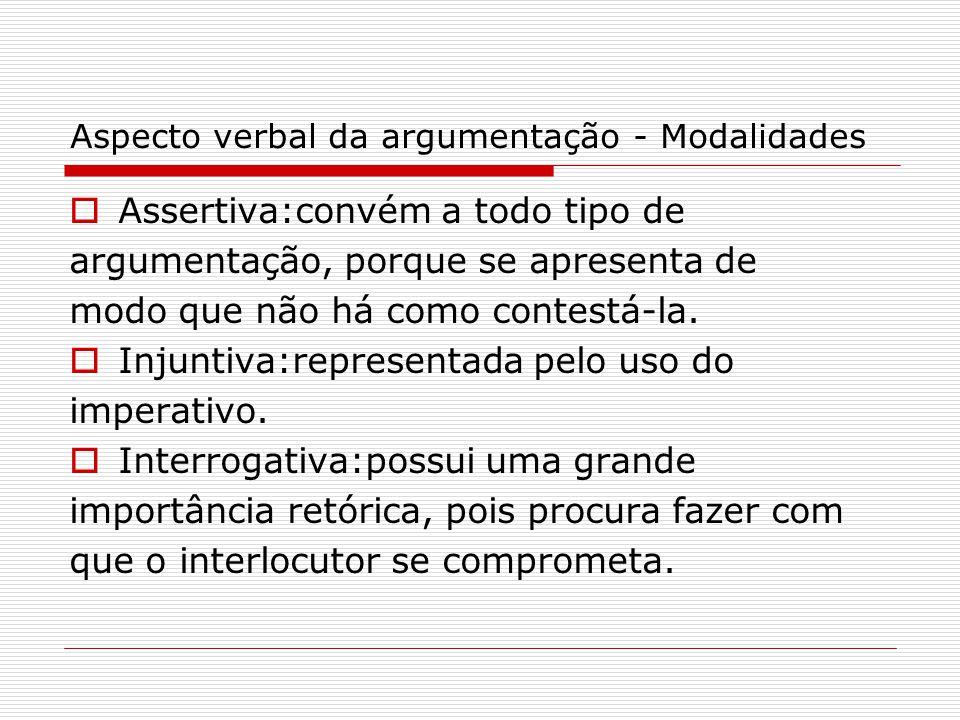 Aspecto verbal da argumentação - Modalidades  Assertiva:convém a todo tipo de argumentação, porque se apresenta de modo que não há como contestá-la.