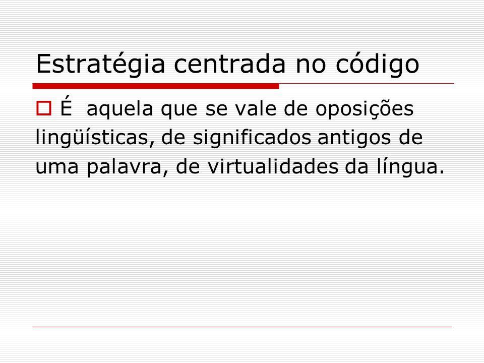 Estratégia centrada no código  É aquela que se vale de oposições lingüísticas, de significados antigos de uma palavra, de virtualidades da língua.